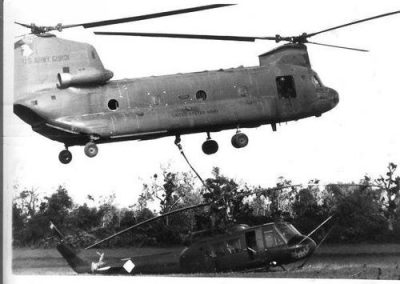 Chinook Sling Loading A Huey Helicopter