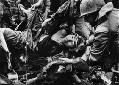 Marines Carrying Wounded North Vietnamese Soldier