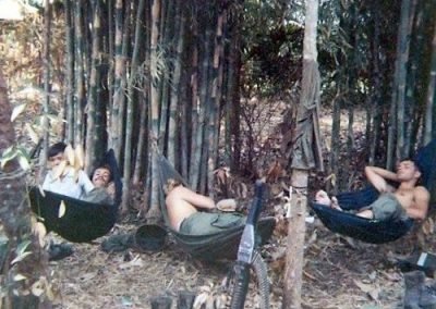 Soldiers Taking a Midday Siesta in Hammocks