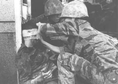 Vietnamese Marine Receives First Aid From a U.S. Marine Medic