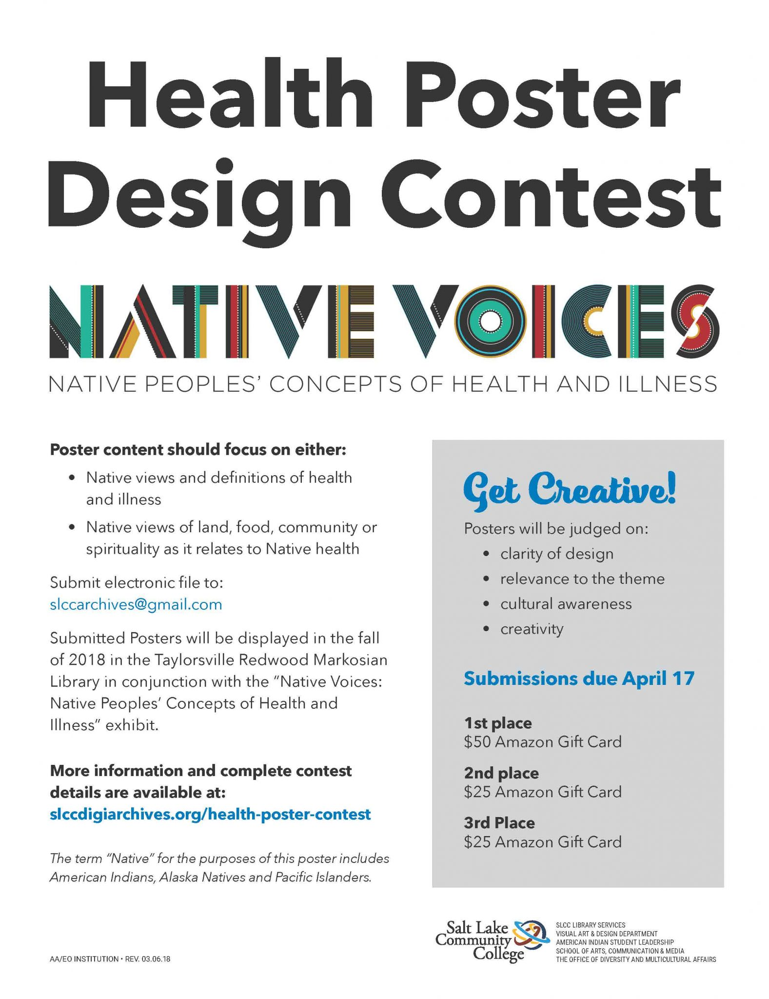 During March And April SLCC Library Services Is Runing A Health Poster  Design Contest Related To Native Peopleu0027s Concepts Of Health And Illness.