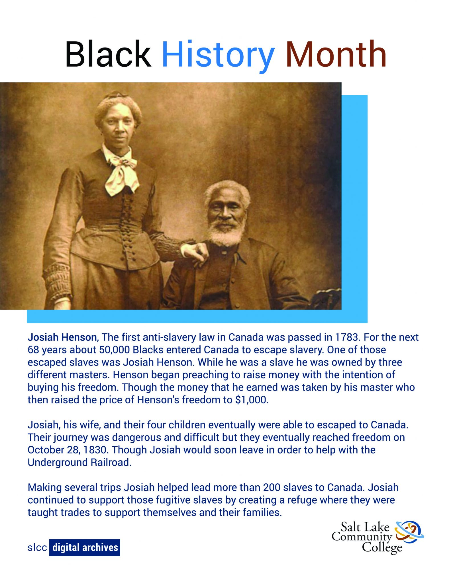 photo of Josiah Henson a man who escaped slavery with his wife and children and helped others do the same.