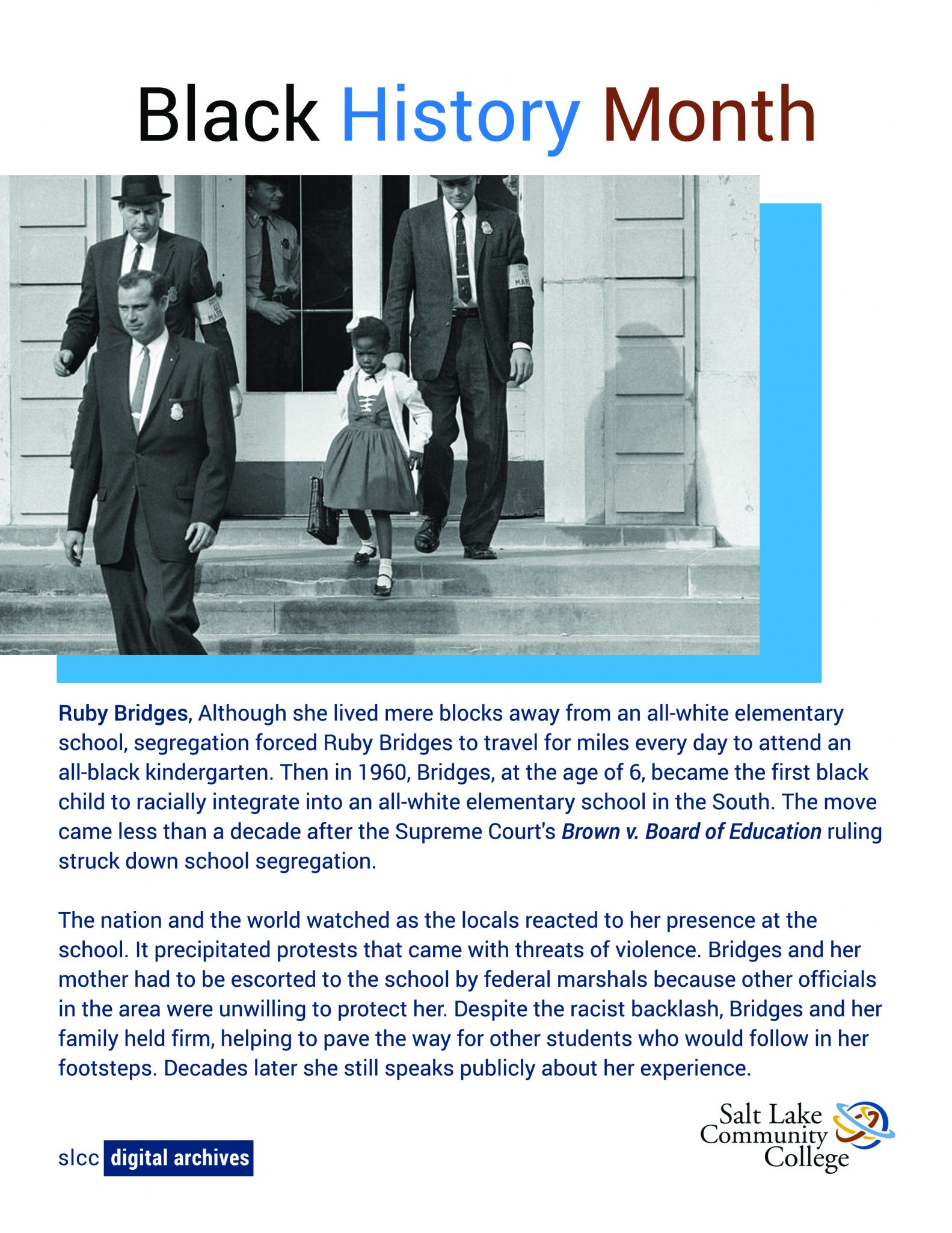Photo of Ruby Bridges being escorted to an all-white school by federal marshals.