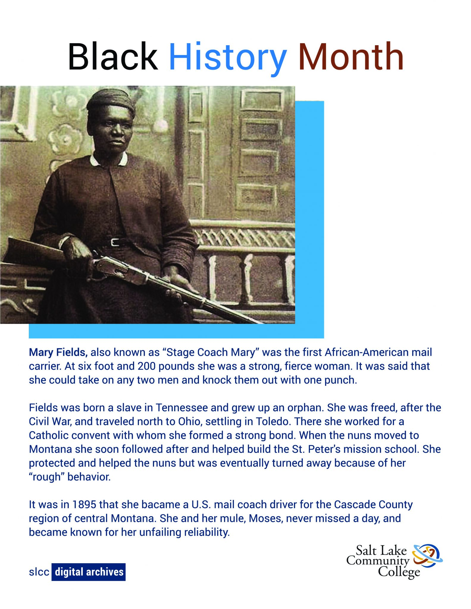 Photo of Stage Coach Mary the first African-American mail carrier