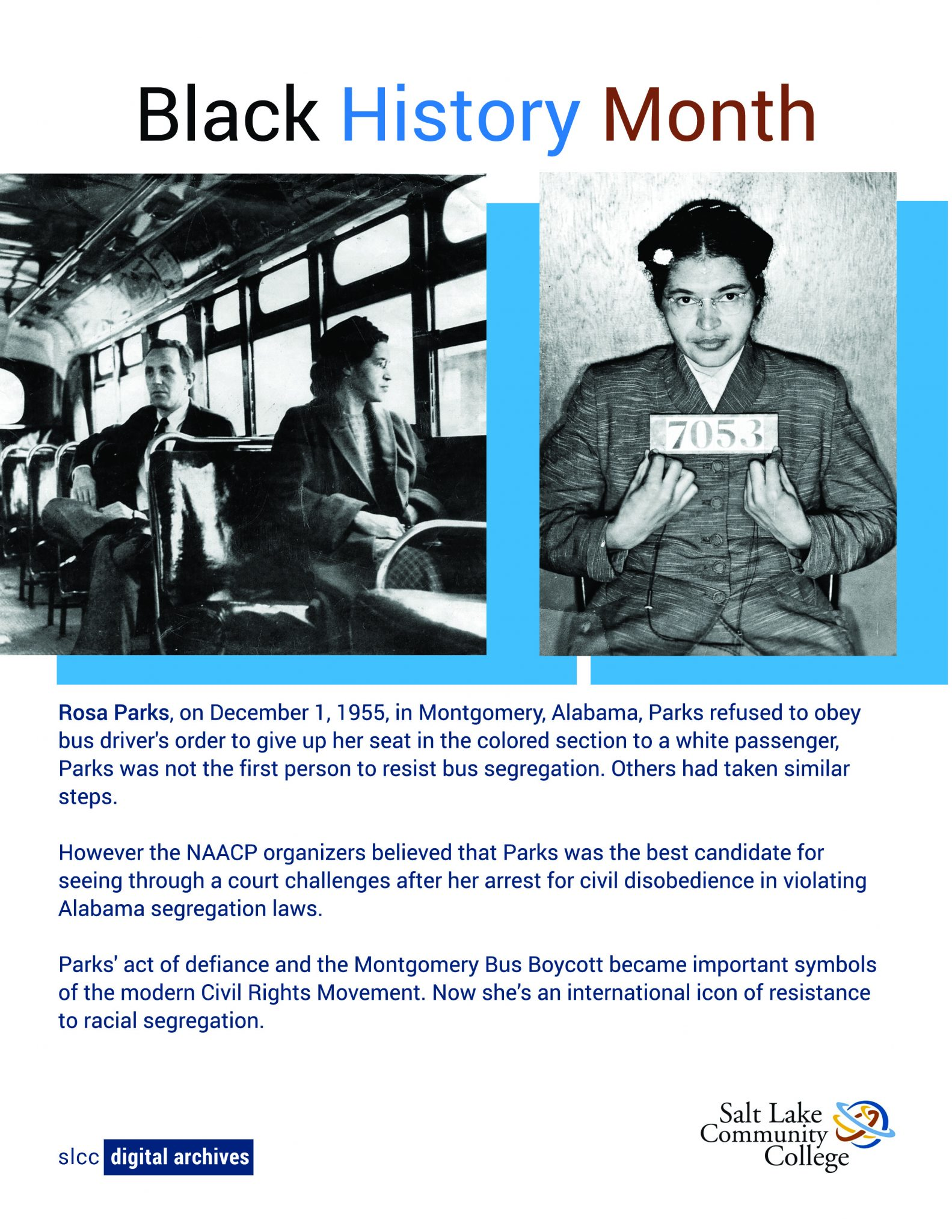 Photo of Rosa Parks and a white man on a bus as well as a the mugshot from Rosa Parks' arrest