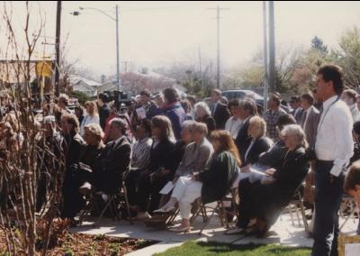 Audience at Eccles Lab School building dedication ceremony.