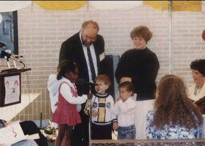 Children speaking at the Eccles Lab School building dedication ceremony.