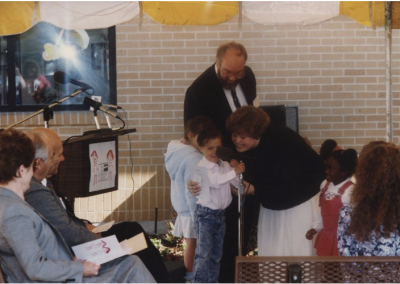 A child speaker at Eccles Lab School building dedication ceremony.