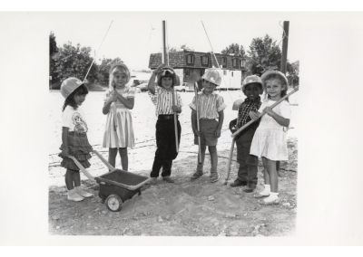 Children, dressed as construction workers, at the Eccles Lab School building ground breaking ceremony.