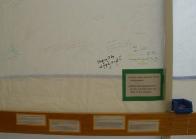 At the History of Eccles Lab School exhibit patrons were able to write on butcher paper things they learned, liked or loved from their childhood.