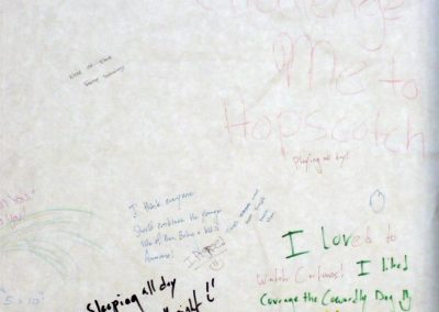 At the History of Eccles Lab School exhibit patrons were able to write on butcher paper things they learned, liked or loved from their childhood. This is a close up of one such message.