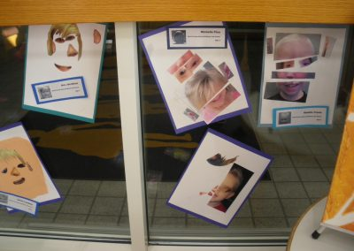 Close up of some of the paintings made by children who attend the Eccles Lab School.