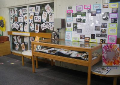 View of display case and exhibit sign