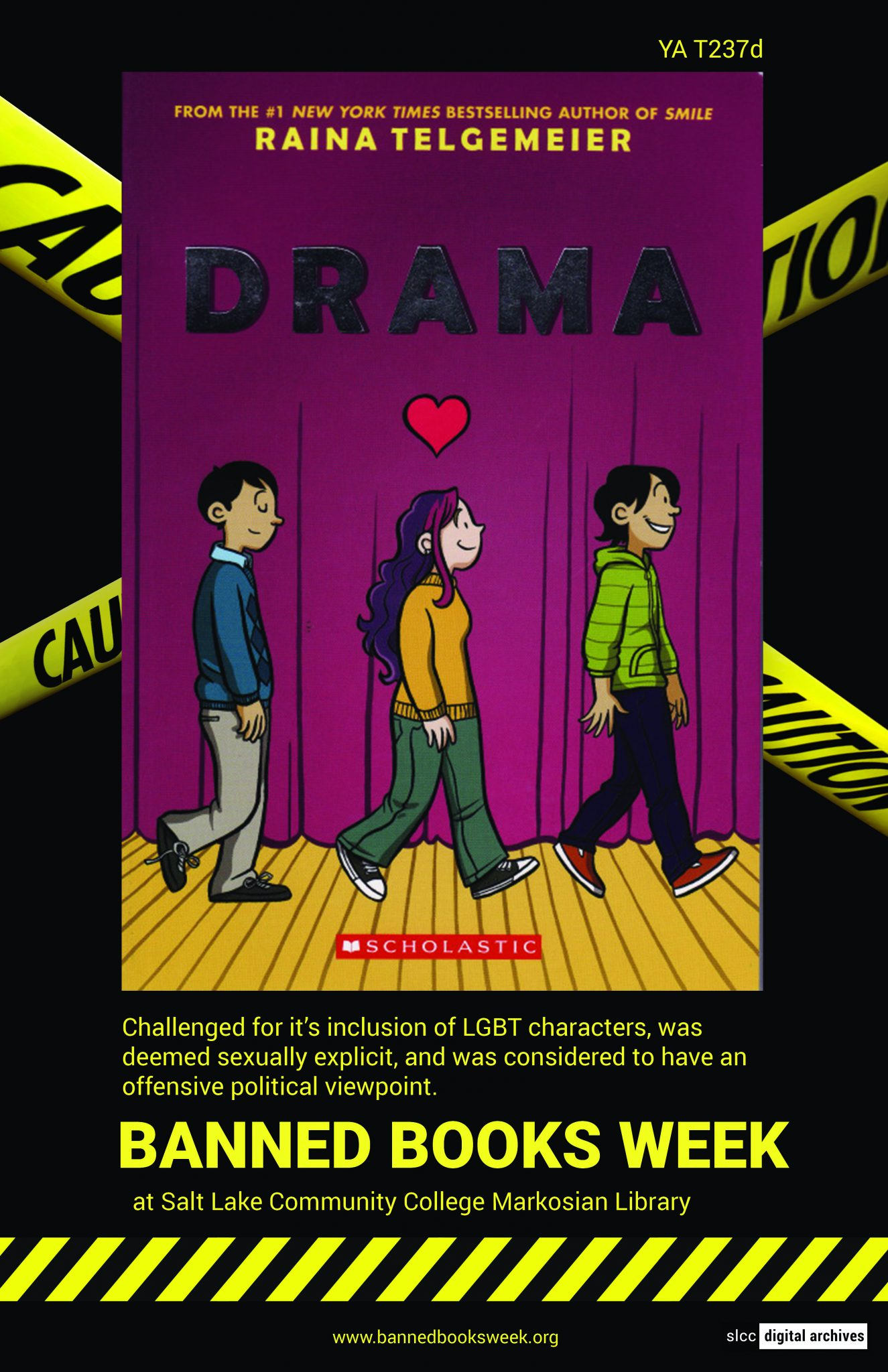 Banned Books Week Poster: Drama written and illustrated by Raina Telgemeier