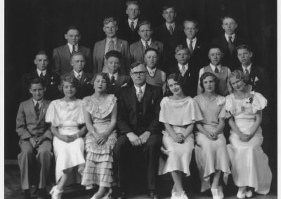 Amos Griffin with his class of 7th and 8th grade students in about 1932.