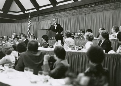 At a faculty appreciation dinner Salt Lake Community College President, Jay L. Nelson (between 1949 and 1978), addresses the audience. photo likely taken between 1949 and 1978.