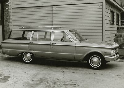 1961 Mercury Comet 4 Door Station Wagon V-8 Automatic Rat Rod Sleeper Custom after student repairs. Digitization completed with funds from a 2017 USHRAB (Utah State Historical Records Advisory Board) Grant that was awarded to Salt Lake Community College, Library Services. Photo likely taken between 1960-1977.