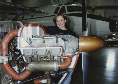 Salt Lake Community College freshman and private pilot Barbara Reams is pursuing her aviation maintenance degree; she hopes by being a pilot as well as a technician, she will be able to better communicate with pilots about aircraft repairs. Digitization completed with funds from a 2017 USHRAB (Utah State Historical Records Advisory Board) Grant that was awarded to Salt Lake Community College, Library Services. Photo taken 11/12/1998.