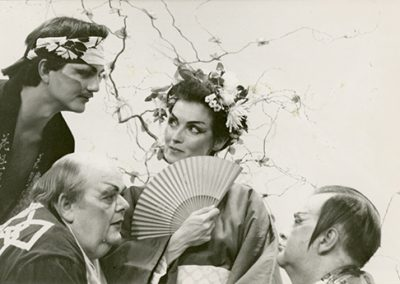 "Performers doing a scene from Gilbert and Sullivan's ""The Mikado."" Photo likely taken between 1975 and 1985."