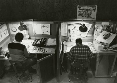 Students in SLCC Printing Program at work on their individual graphic design projects. Photo likely taken between 1980 and 1990.