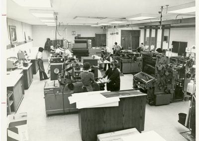A well outfitted letterpress and printmaking studio. Photo likely taken between 1970 and 1984.
