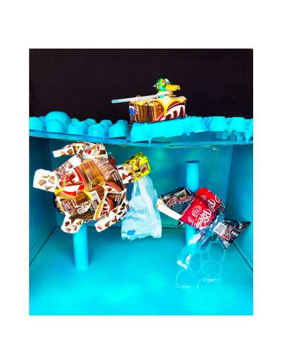 sea animals created out of recycled materials