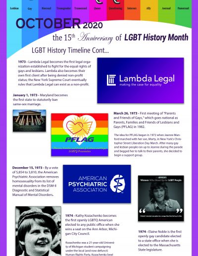 LGBT Timeline, Display Poster, Covering Dates Between 1973 and 1974