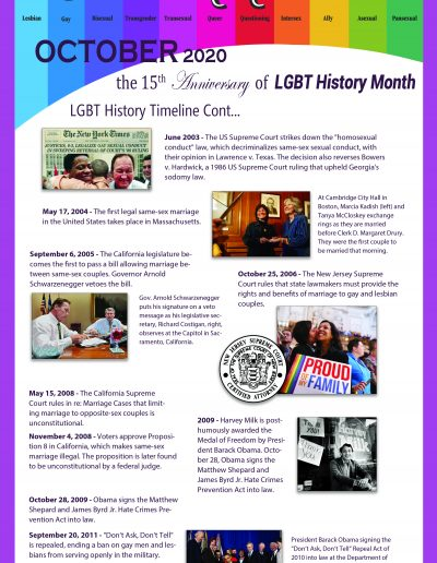 LGBT Timeline, Display Poster, Covering Dates Between 2003 and 2011
