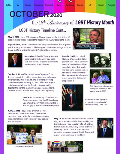 LGBT Timeline, poster covering, dates between 2012 and 2016