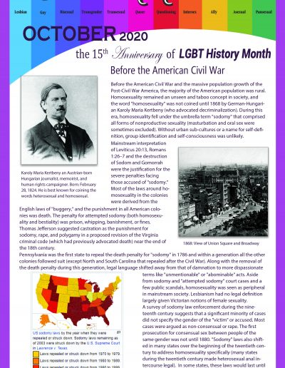 LGBT Timeline, Display Poster, Covering Pre-Civil War Era in the United States
