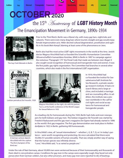 LGBT Timeline, Display Poster, Covering The Emancipation Movement in Germany, 1890s-1934