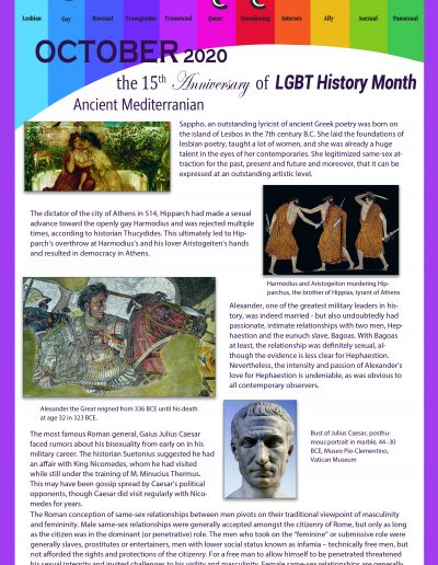 LGBT Timeline, Display Poster, Covering The Ancient Mediterranean