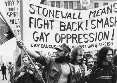 Image of protesters taking to the streets in the aftermath of the Stonewall riots in lower Manhattan in the summer of 1969. Stonewall marked a turning point in the gay rights movement.