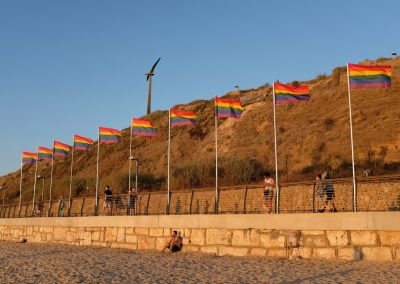 Rainbow flags are dotted around Tel Aviv during their Pride