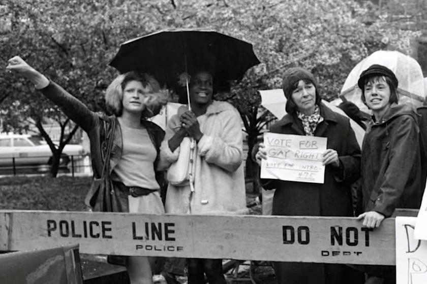 Sylvia Rivera (left) and Marsha P. Johnson (second from left) / Image via NETFLIX, THE DEATH AND LIFE OF MARSHA P. JOHNSON