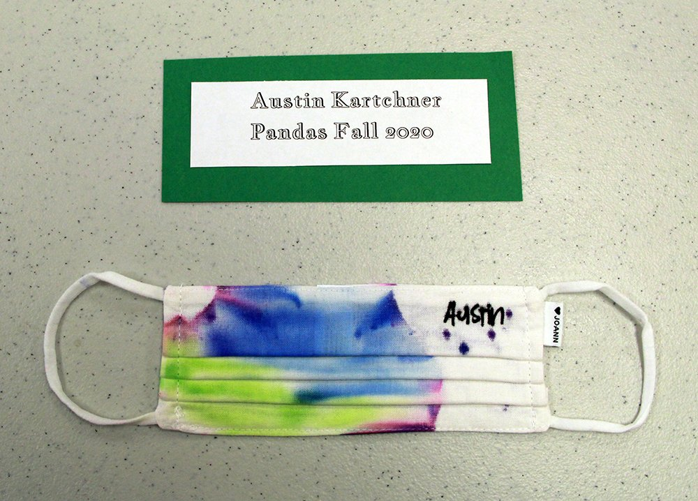 Austin Kartchner, of Pandas group, made a tie-dye face mask, Fall 2020
