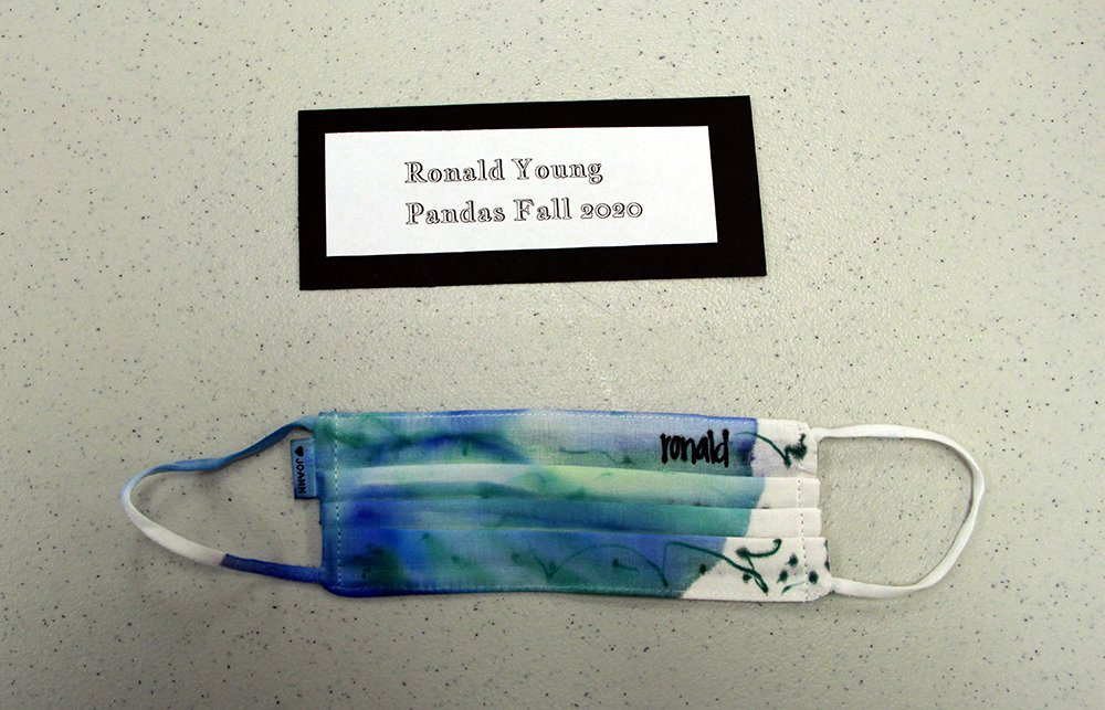 Ronald Young, of Pandas group, made a tie-dye face mask, Fall 2020