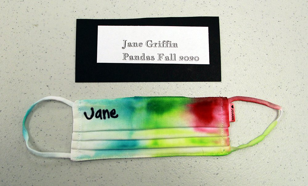 Jane Griffin, of Pandas group, made a tie-dye face mask, Fall 2020