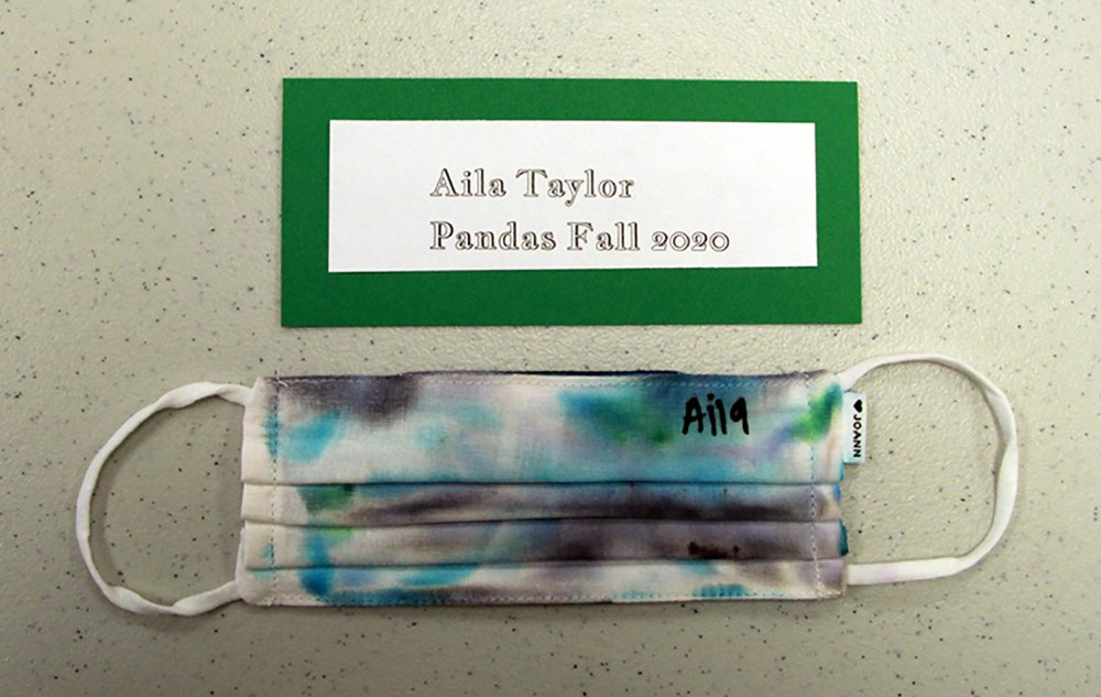 Aila Taylor, of Pandas group, made a tie-dye face mask, Fall 2020