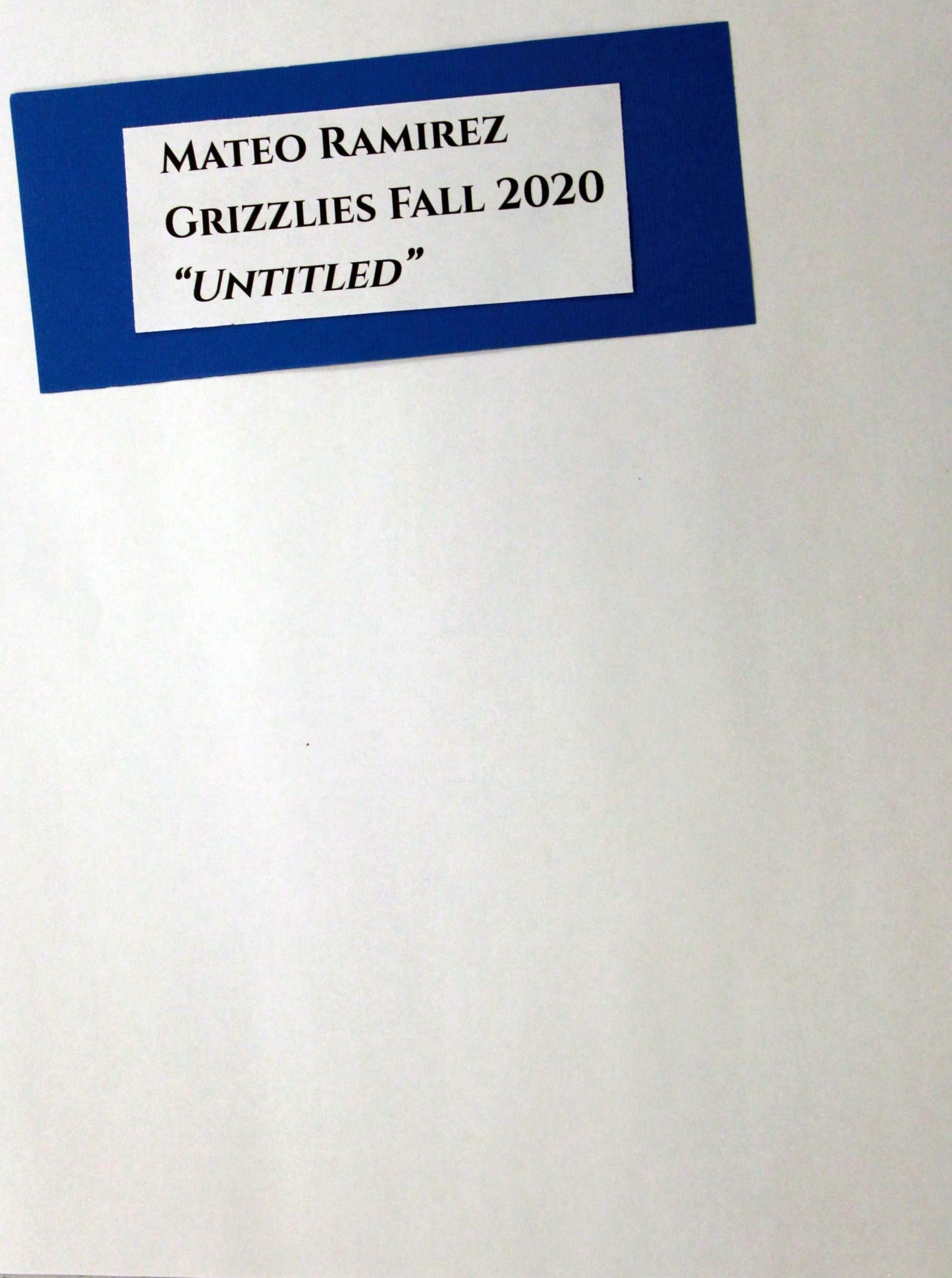 Mateo Ramirez, of Grizzlies group, drawing, Fall 2020