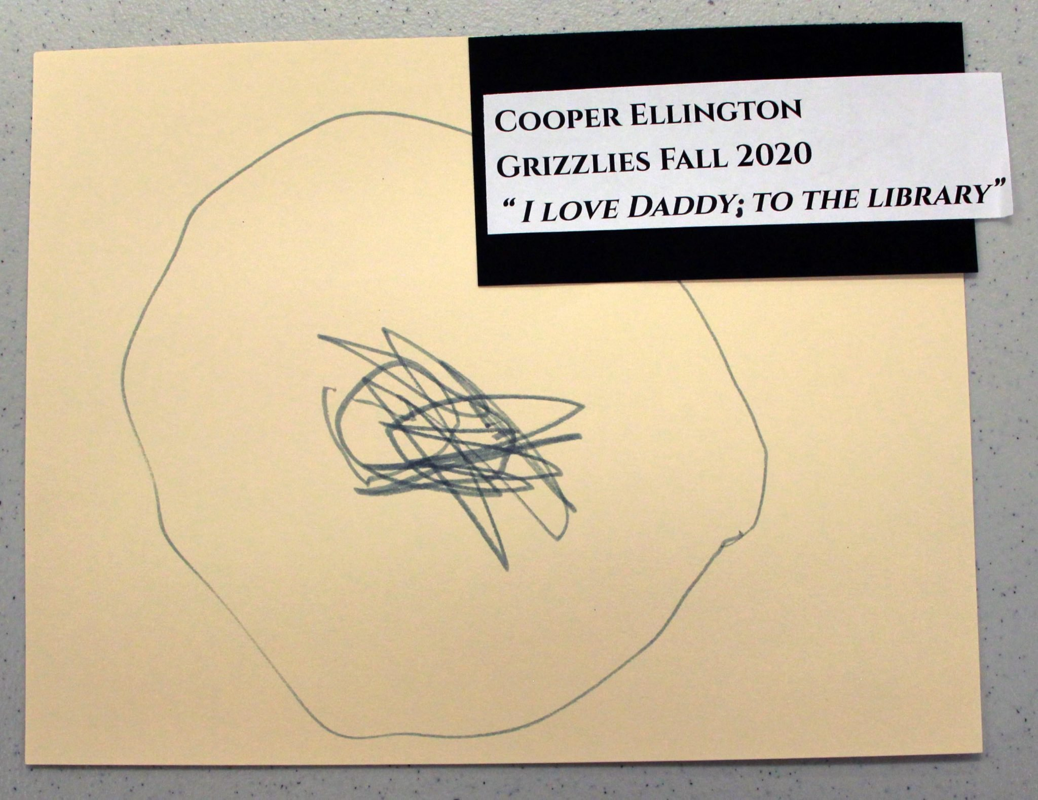 Cooper Ellington, of Grizzlies group, drawing, Fall 2020