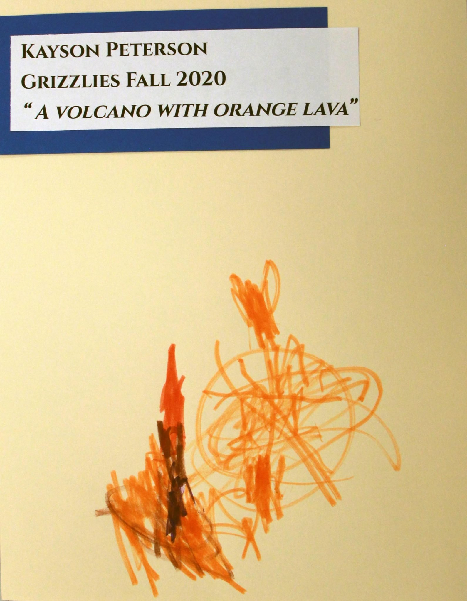 Kayson Peterson, of Grizzlies group, drawing, Fall 2020