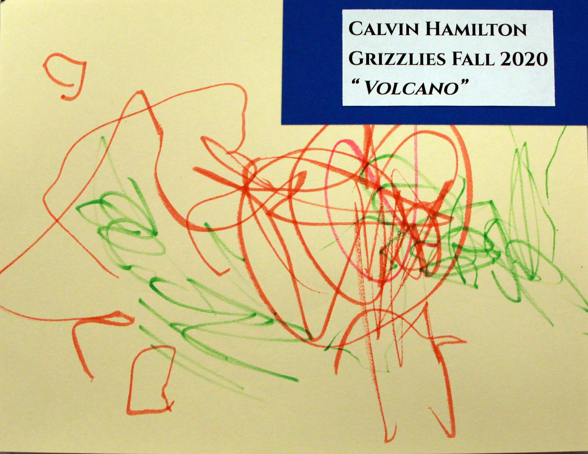 Calvin Hamilton, of Grizzlies group, drawing, Fall 2020