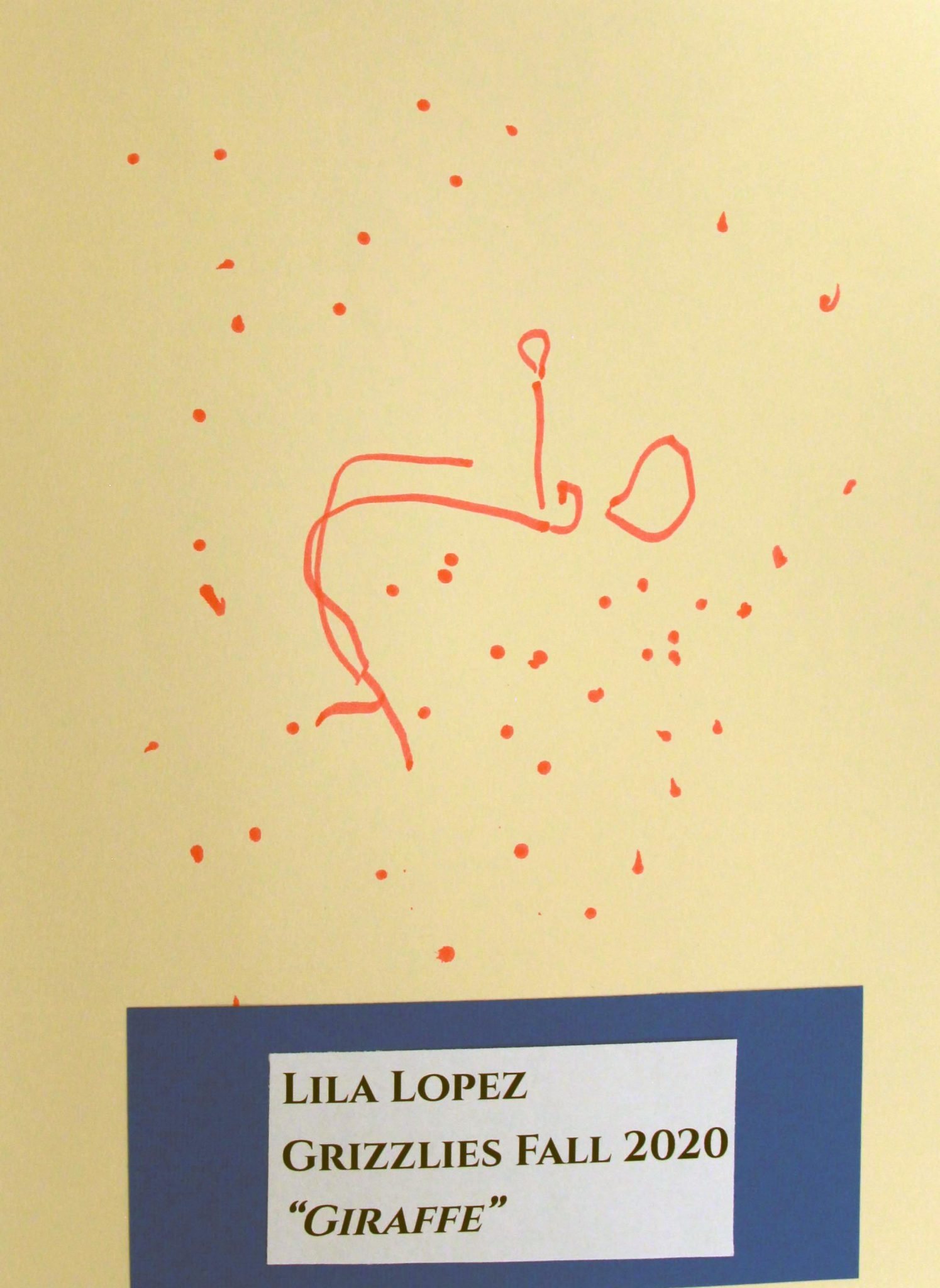 Lila Lopez, of Grizzlies group, drawing, Fall 2020