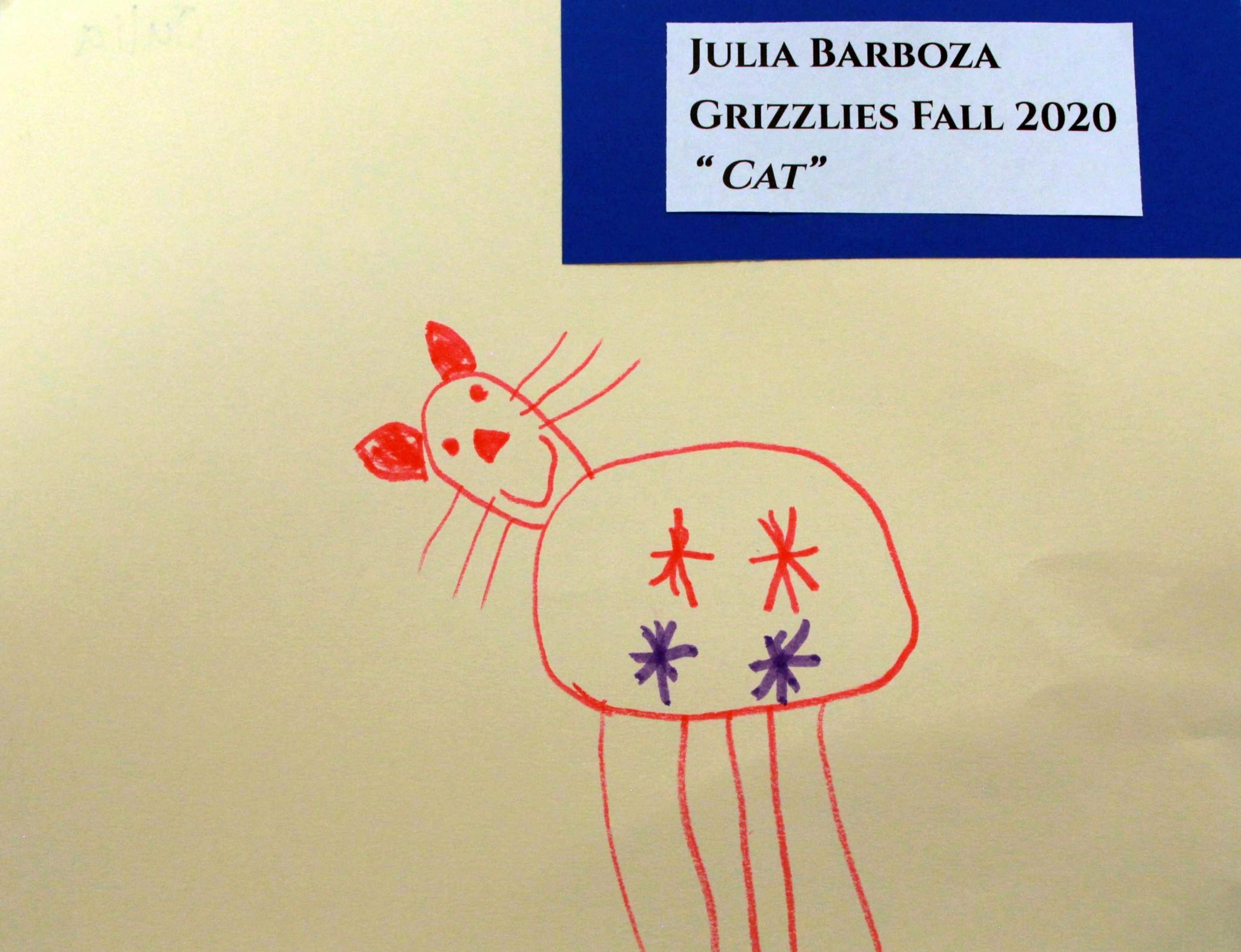Julia Barboza, of Grizzlies group, drawing, Fall 2020
