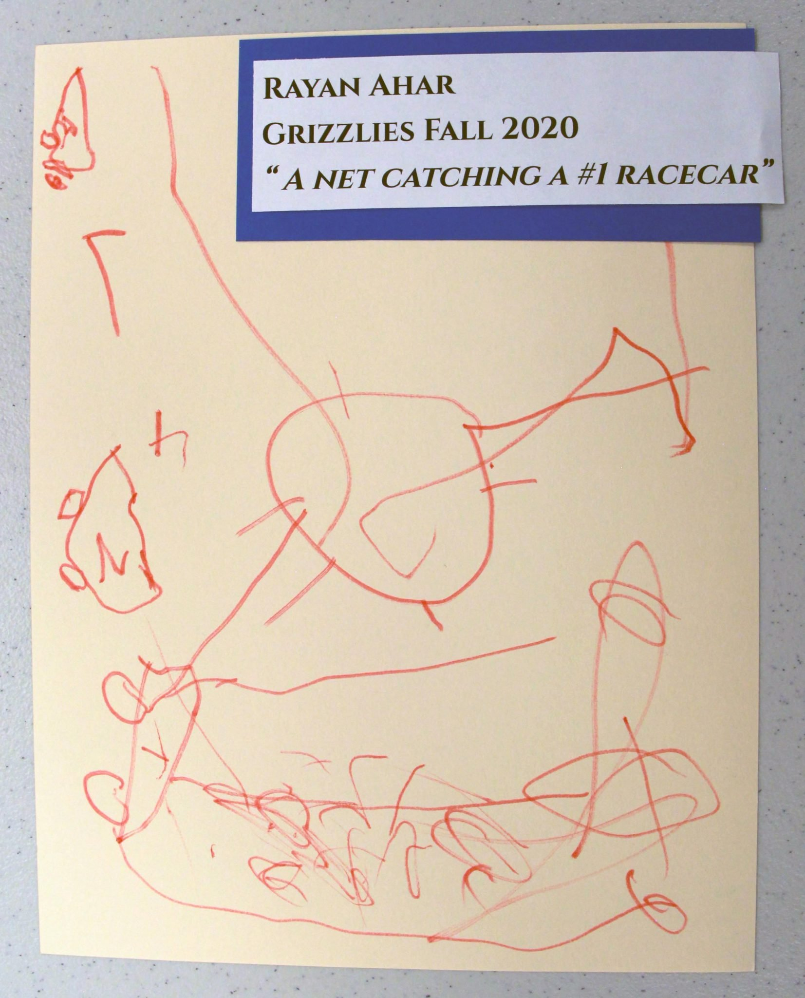 Rayan Ahar, of Grizzlies group, drawing, Fall 2020